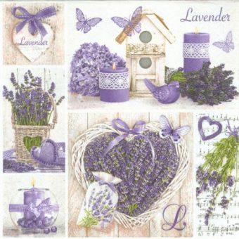 Dekorszalvéta - Lavender Collage