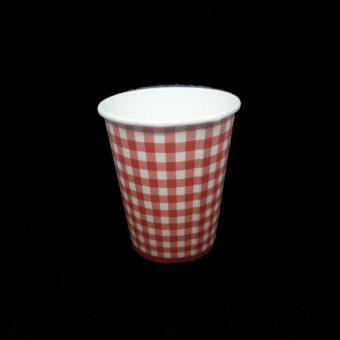 Papírpohár Piros kockás 2.5 dl 8 db/cs