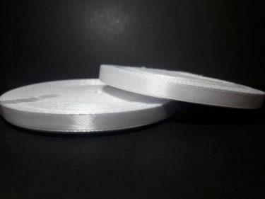 Szatén szalag, Fehér 6 mm / 23 m