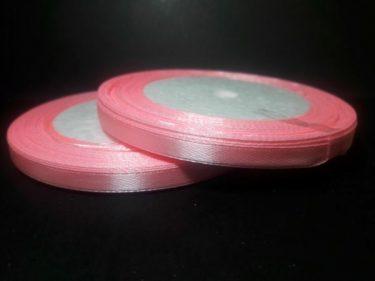 Szatén szalag, Rózsaszín 6 mm / 23 m