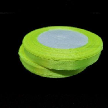 Szatén szalag, Neonsárga 10 mm / 20 m