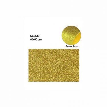 Csillámos dekorgumi Sárga arany 40x60 cm