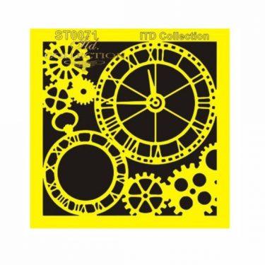 ITD Stencil Óra és fogaskerék 16x16 cm