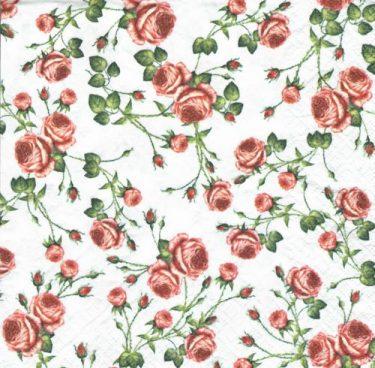 Dekorszalvéta - Small Roses White