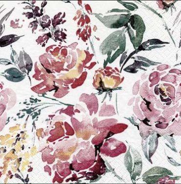 Dekorszalvéta - Fleurs Lumineuses Burgundy