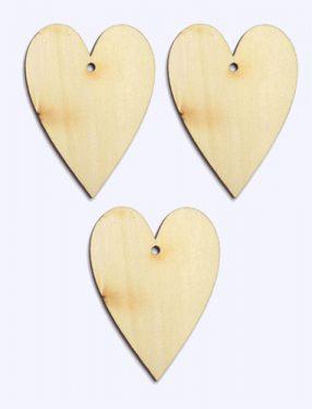 Festhető fafigura Nyújtott szív 3 db/cs