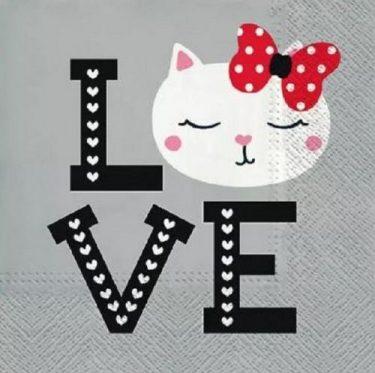 Dekorszalvéta - Lovely Cat