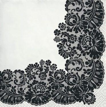 Dekorszalvéta - Lacy Frame Black