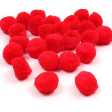 Pompon Piros 25 mm 35 db/cs