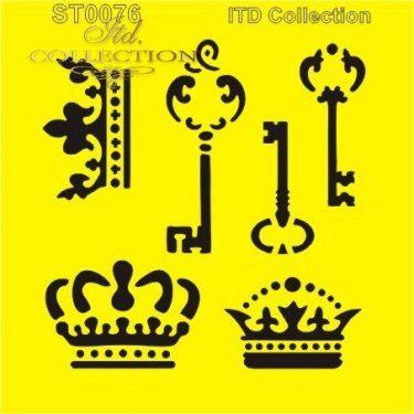 ITD Stencil Kulcsok és koronák 16x16 cm